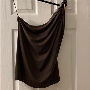 Michael Kors NWT one shoulder brown shirt